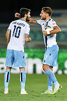 Ciro Immobile of SS Lazio celebrates with Luis Alberto after scoring a goal during the Serie A football match between Hellas Verona and SS Lazio at stadio Marcantonio Bentegodi in Verona (Italy), July 26th, 2020. Play resumes behind closed doors following the outbreak of the coronavirus disease. <br /> Photo Daniele Buffa / Image Sport / Insidefoto