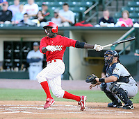 June 20th 2008:  Third baseman Jermaine Curtis (1) of the Batavia Muckdogs, Class-A affiliate of the St. Louis Cardinals, during a game at Frontier Field in Rochester, NY - home of the Rochester Red Wings.  Photo by:  Mike Janes/Four Seam Images