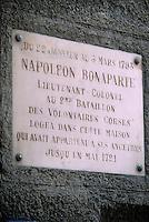 Europe/France/Corse/2A/Corse-du-Sud/Bonifacio: plaque de la maison où logea Napoléon Bonaparte