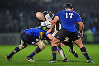 Matt Garvey of Bath Rugby takes on the Leinster defence. European Rugby Champions Cup match, between Leinster Rugby and Bath Rugby on January 16, 2016 at the RDS Arena in Dublin, Republic of Ireland. Photo by: Patrick Khachfe / Onside Images
