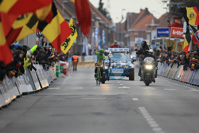 Peter Sagan (SVK) Cannondale Pro Cycling crosses the finish line in Wevelgem alone to win at the end of the 75th edition of Gent-Wevelgem, Belgium, 24th  March 2013 (Photo by Eoin Clarke 2013)