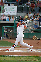 Stockton Ports catcher Jake Nottingham (9) at bat during a game against the Visalia Rawhide at Banner Island Ballpark on August 15, 2015 in Stockton, California. Visalia defeated Stockton 9-1. (Robert Gurganus/Four Seam Images)