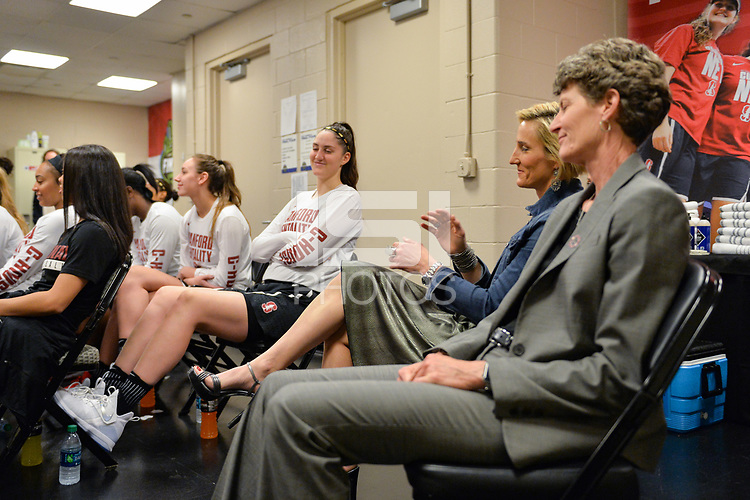 Dallas, TX - Friday March 31, 2017: Kate Paye, Amy Tucker, players prior to the NCAA National Semifinal Game between the women's basketball teams of Stanford and South Carolina at the American Airlines Center.