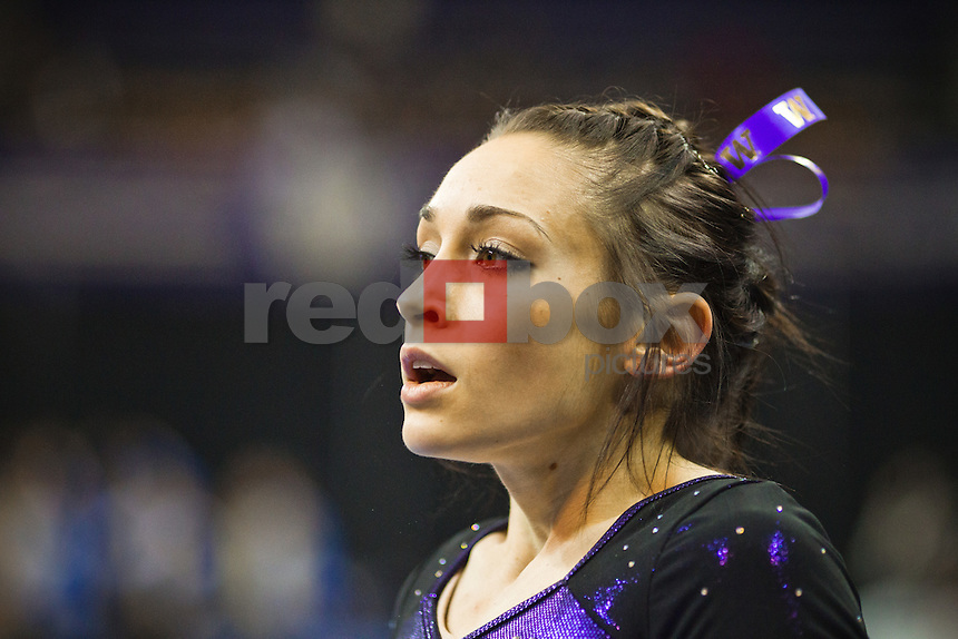 McKenzie Fechter...Washington Huskies gymnastics vs. the UCLA Bruins at Alaska Airlines Arena at Hec Edmundson Pavilion in Seattle on Friday, January 27, 2012. (Photo by Dan DeLong/Red Box Pictures)