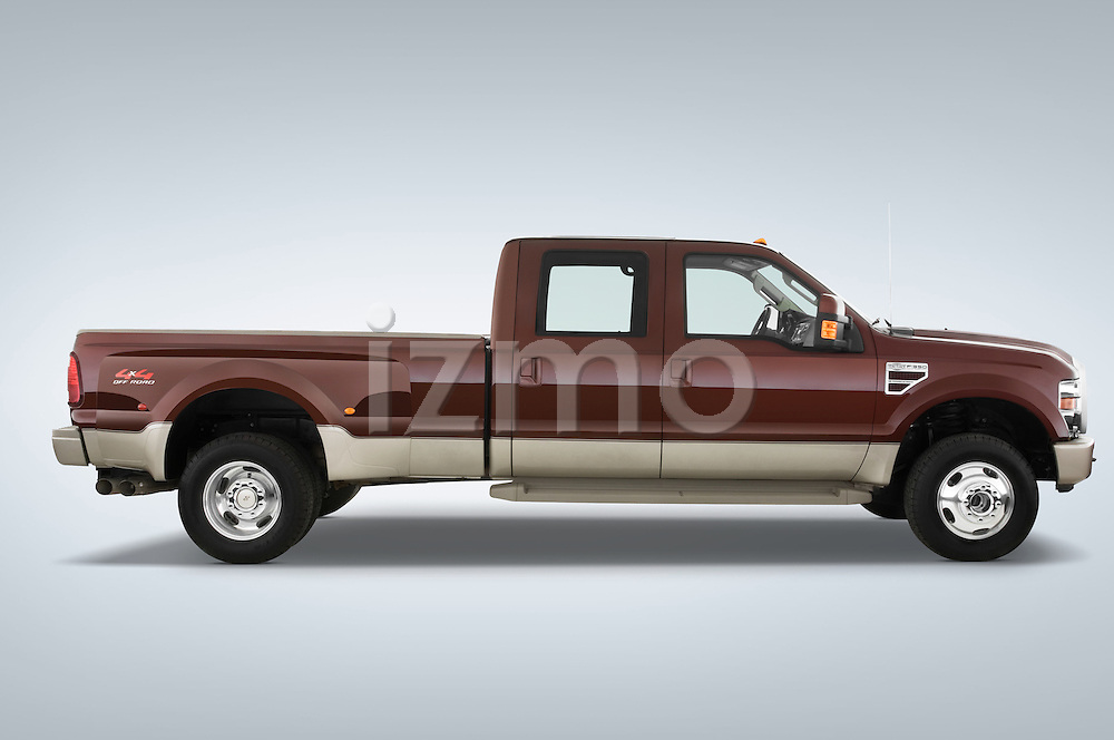 Passenger side profile view of a 2008 Ford F350 Crew Cab