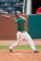 Michael Broad #8 of the Miami Hurricanes follows through on his swing against the Boston College Eagles at the 2010 ACC Baseball Tournament at NewBridge Bank Park May 27, 2010, in Greensboro, North Carolina.  The Eagles defeated the Hurricanes 12-10 in 10 innings.  Photo by Brian Westerholt / Four Seam Images