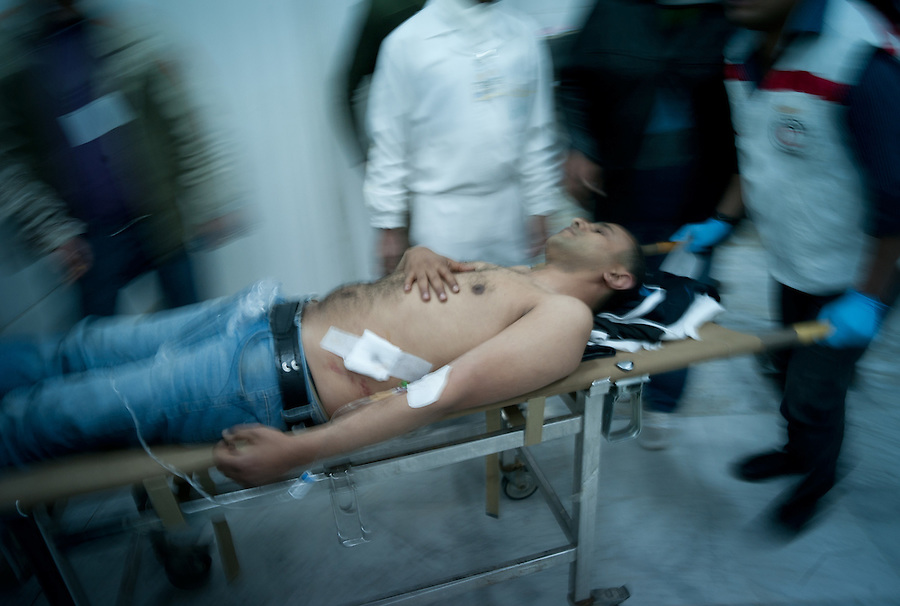 Civilian casualty in Benghazi, Libya.