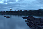 The Marowijne River, Suriname.  Tip of the island at Nason after dark.