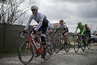 Jasper Stuyven (BEL/Trek-Segafredo) over the Paddenstraat cobbles<br /> <br /> E3 - Harelbeke 2016