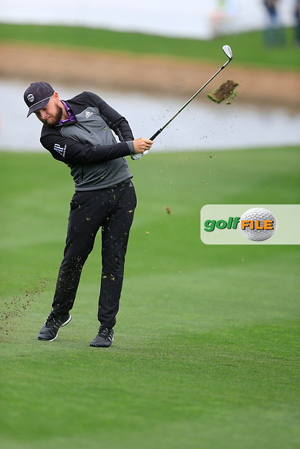 Tyrrell Hatton (ENG) on the 18th fairway during the final round of the Waste Management Phoenix Open, TPC Scottsdale, Scottsdale, Arisona, USA. 03/02/2019.<br /> Picture Fran Caffrey / Golffile.ie<br /> <br /> All photo usage must carry mandatory copyright credit (© Golffile | Fran Caffrey)