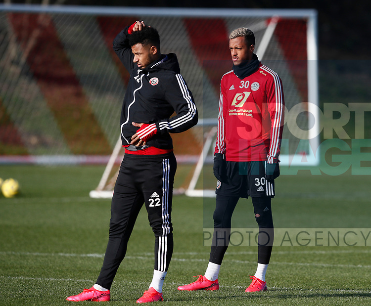 Lys Mousset and Richairo Zivlovic of Sheffield Utd during the Press Conference & Training at the Steelphalt Academy, Sheffield. Picture date: 7th February 2020. Picture credit should read: Simon Bellis/Sportimage