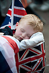 Royal Wedding William and Kate Middleton..Crowds leaving the Mall after the wedding.....pic by gavin Rodgers/ Pixel 8000.07917221968Royal Wedding William and Kate Middleton..Crowds leaving the Mall after the wedding..Tired children.Ben 2 and Jamsine 5 Stone being dragged in a trolley by their Grandad Mark Stone.They are from Kent....pic by gavin Rodgers/ Pixel 8000.07917221968