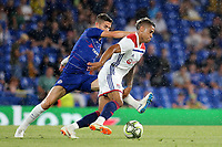Mariano Diaz of Lyon tries to get past Chelsea's Jorginho during Chelsea vs Lyon, International Champions Cup Football at Stamford Bridge on 7th August 2018