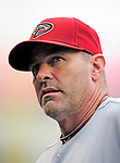 15 August 2010: Arizona Diamondbacks manager Kirk Gibson stands in the dugout prior to a game against the Washington Nationals at Nationals Park in Washington, DC. The Nationals defeated the Diamondbacks 5-3 to take the rubber match of their 3-game series. Mandatory Credit: Ed Wolfstein Photo