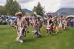 WY: Wyoming, Cody: Dancing at June Powwow of Plains Indians.Photo #: yellow636..Photo copyright Lee Foster, 510/549-2202, lee@fostertravel.com, www.fostertravel.com..