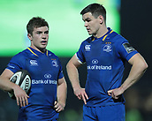 29th September 2017, RDS Arena, Dublin, Ireland; Guinness Pro14 Rugby, Leinster Rugby versus Edinburgh; Luke McGrath (Leinster) and Johnny Sexton (Captain Leinster) chat