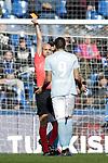 Referee Gonzalez Fuertes shows red card to Celta de Vigo's Maxi Gomez  during La Liga match. February 09,2019. (ALTERPHOTOS/Alconada)