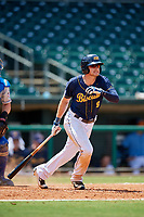 Montgomery Biscuits first baseman Dalton Kelly (9) follows through on a swing during a game against the Biloxi Shuckers on May 8, 2018 at Montgomery Riverwalk Stadium in Montgomery, Alabama.  Montgomery defeated Biloxi 10-5.  (Mike Janes/Four Seam Images)