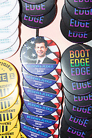 A vendor sells campaign buttons featuring Democratic presidential candidate and South Bend, Ind., mayor Pete Buttigieg outside a Buttigieg campaign office downtown in Concord, New Hampshire, on Thu., September 5, 2019.