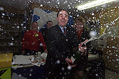 SNP leader Alex Salmond celebrates victory in the only poll that mattered.... news was relayed to Mr Salmond while visiting Perth and the offices of candidate Roseanna Cunningham