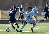 NWA Democrat-Gazette/CHARLIE KAIJO Springdale High School Ruben Ayala (6) blocks during a soccer game, Friday, March 15, 2019 at Bentonville West in Centerton.