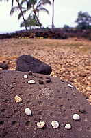 Lapakahi state historical park.  Rock game at 14th century village site