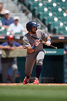 Lehigh Valley IronPigs Ali Castillo (3) squares to bunt during an International League game against the Buffalo Bisons on June 9, 2019 at Sahlen Field in Buffalo, New York.  Lehigh Valley defeated Buffalo 7-6 in 11 innings.  (Mike Janes/Four Seam Images)