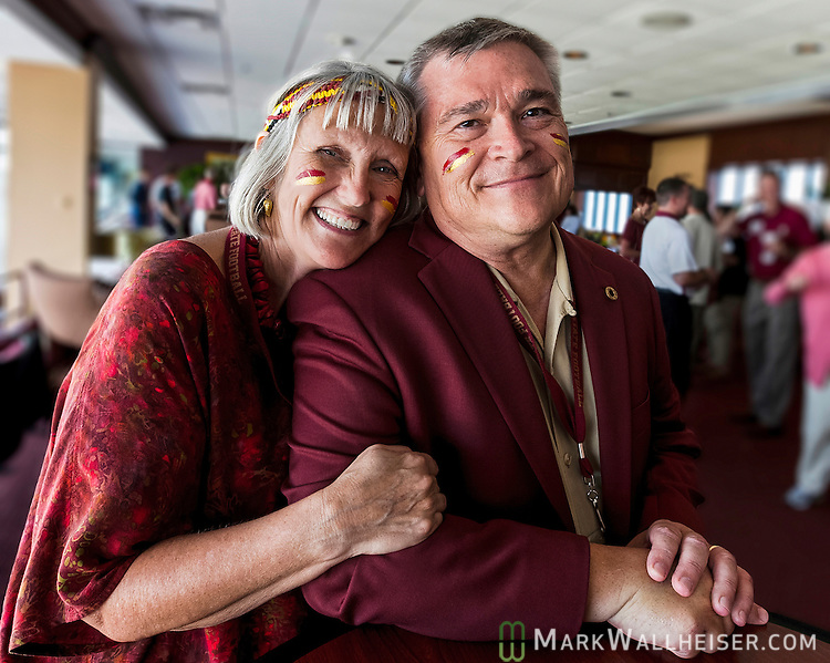 Florida State University president Eric Barron and his wife Molly in the president's box at the FSU vs Wake Forest NCAA football game at Doak S. Campbell Stadium in Tallahassee, FL