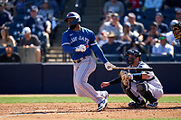 Toronto Blue Jays Teoscar Hernandez (37) bats during a Spring Training game against the New York Yankees on February 22, 2020 at the George M. Steinbrenner Field in Tampa, Florida.  (Mike Janes/Four Seam Images)