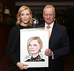 Cate Blanchett and Max Klimavicius attend the Cate Blanchett and Richard Roxburgh Caricature Unveiling at Sardi's on March 14, 2017 in New York City.