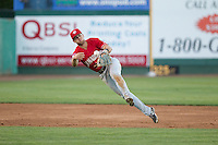 Gunnar Heidt (2) of the Vancouver Canadians makes a throw to first base during a game against the Everett Aquasox at Everett Memorial Stadium in Everett, Washington on July 27, 2015.  Everett defeated Vancouver 6-0. (Ronnie Allen/Four Seam Images)