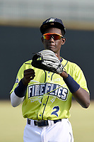 Shortstop Ronny Mauricio (2) of the Columbia Fireflies warms up before a game against the Charleston RiverDogs on Saturday, April 6, 2019, at Segra Park in Columbia, South Carolina. Columbia won, 3-2. (Tom Priddy/Four Seam Images)