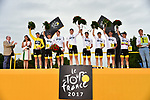 Team Sky win the overall team classification at the end of Stage 21 of the 104th edition of the Tour de France 2017, an individual time trial running 1.3km from Montgeron to Paris Champs-Elysees, France. 23rd July 2017.<br /> Picture: ASO/Pauline Ballet | Cyclefile<br /> <br /> <br /> All photos usage must carry mandatory copyright credit (&copy; Cyclefile | ASO/Pauline Ballet)