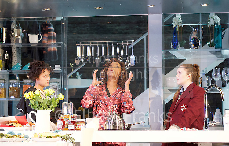 Linda <br /> by Penelope Skinner <br /> directed by Michael Longhurst <br /> at The Royal Court Theatre, London, Great Britain <br /> 30th November 2015 <br /> <br /> Nova Dumezweni as Linda <br /> <br /> Karla Crome as Alice <br /> <br /> Imogen Byron as Bridget <br /> <br /> <br /> <br /> Photograph by Elliott Franks <br /> Image licensed to Elliott Franks Photography Services