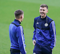 1st January 2020; St James Park, Newcastle, Tyne and Wear, England; English Premier League Football, Newcastle United versus Leicester City; James Maddison of Leicester City enjoys a laugh with Marc Albrighton of Leicester City - Strictly Editorial Use Only. No use with unauthorized audio, video, data, fixture lists, club/league logos or 'live' services. Online in-match use limited to 120 images, no video emulation. No use in betting, games or single club/league/player publications
