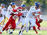 SIOUX FALLS, SD - SEPTEMBER 25: Jimmy Smith #45 from Lincoln chases down Cannon Hannigan #7 form Aberdeen Central in the first quarter of their game Friday night at Howard Wood Field. (Photo by Dave Eggen/Inertia)