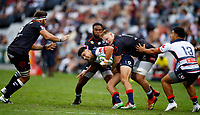 DURBAN, SOUTH AFRICA - MARCH 23:  Daniel Du Preez of the Cell C Sharks tackling Jack Maddocks of the Melbourne Rebels during the Super Rugby match between Cell C Sharks and Rebels at Jonsson Kings Park on March 23, 2019 in Durban, South Africa. Photo: Steve Haag / stevehaagsports.com