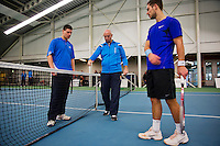 Januari 24, 2015, Rotterdam, ABNAMRO, Supermatch, umpire Rob Mulder does the toss right Tim van Terheijden, left Rene d Hooge<br /> Photo: Tennisimages/Henk Koster