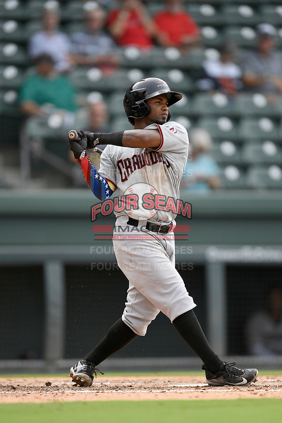 Second baseman Yonny Hernandez (1) of the Hickory Crawdads bats in Game 1 of a doubleheader against the Greenville Drive on Wednesday, July 25, 2018, at Fluor Field at the West End in Greenville, South Carolina. Greenville won, 4-1. (Tom Priddy/Four Seam Images)