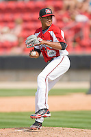 Relief pitcher Ruben Medina #13 of the Carolina Mudcats in action against the Jacksonville Suns at Five County Stadium May 16, 2010, in Zebulon, North Carolina.  Photo by Brian Westerholt /  Seam Images
