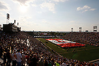Jul 7, 2007; Hamilton, ON, CAN; An overall view of Ivor Wynne stadium as the Canadian flag is unfurled during the singing of the national anthem during the Hamilton Tiger-Cats 2007 season home opener against the Toronto Argonauts. The Argos defeated the Tiger-Cats 30-5. Mandatory Credit: Ron Scheffler, Special to the Spectator.
