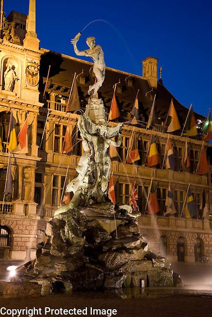 Stadhuis - Town Hall and Brado Fountain, Grote Markt - Main Square; Antwerp; Belgium; Europe