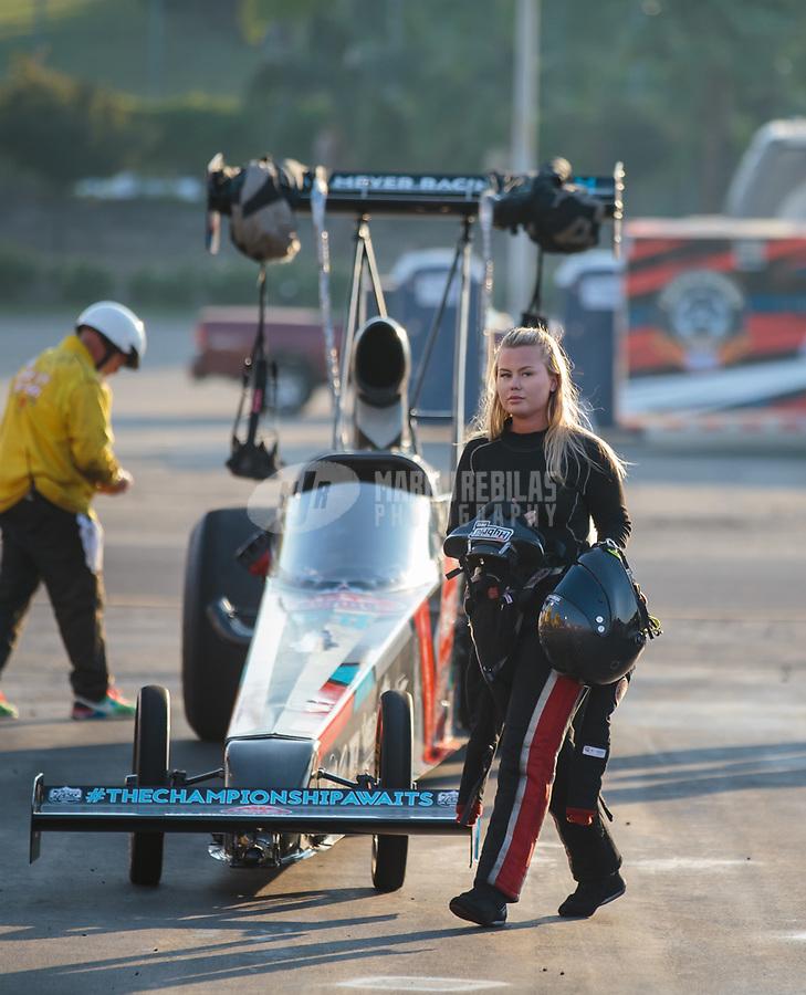Nov 11, 2018; Pomona, CA, USA; NHRA top alcohol dragster driver Julie Nataas during the Auto Club Finals at Auto Club Raceway. Mandatory Credit: Mark J. Rebilas-USA TODAY Sports