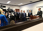 Nevada Senate Republicans, from left center, Ben Kieckhefer, Michael Roberson, Joe Hardy, Mark Hutchison, Greg Brower and Scott Hammond hold a news conference at the Nevada Legislature in Carson City, Nev., on Tuesday, March 5, 2013..Photo by Cathleen Allison