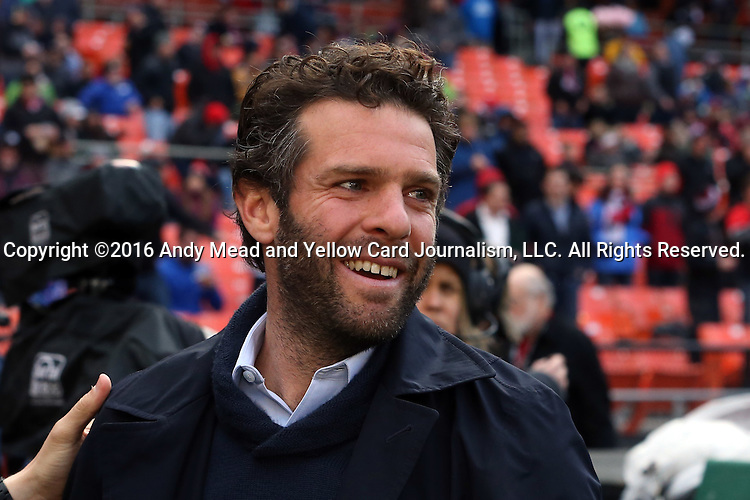09 April 2016: DC United head coach Ben Olsen. DC United hosted the Vancouver Whitecaps FC at RFK Stadium in Washington, DC in a 2016 Major League Soccer regular season game. DC United won the match 4-0.