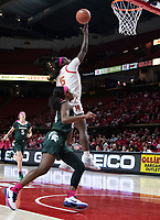 COLLEGE PARK, MD - FEBRUARY 03: Nia Clouden #24 of Michigan State watches a shot by Ashley Owusu #15 of Maryland during a game between Michigan State and Maryland at Xfinity Center on February 03, 2020 in College Park, Maryland.