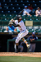 Bradenton Marauders shortstop Alfredo Reyes (13) at bat during a game against the Charlotte Stone Crabs on April 9, 2017 at LECOM Park in Bradenton, Florida.  Bradenton defeated Charlotte 5-0.  (Mike Janes/Four Seam Images)