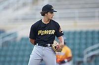 West Virginia Power starting pitcher Max Kranick (19) looks to his catcher for the sign against the Los Rapidos de Kannapolis at Kannapolis Intimidators Stadium on July 25, 2018 in Kannapolis, North Carolina. The Los Rapidos defeated the Power 8-7 in game two of a double-header. (Brian Westerholt/Four Seam Images)