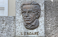 Ismail Kadare, born 1936, writer and poet, from the Monument to Famous Gjirokastriotes, a new monument built by the municipality to celebrate 3 honorary citizens: Eqerem Cabej, 1908-80, historian, linguist and educator, Ismael Kadare and Musine Kokalari, 1917-83, writer and co-founder of the Albanian Social Democratic Party, 1943, Gjirokastra, Albania. Gjirokastra was settled by the Greek Chaonians, the Romans and Byzantines before becoming an Ottoman city in 1417. Its old town was listed as a UNESCO World Heritage Site in 2005. Picture by Manuel Cohen