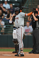 J.C. Encarnacion (1) of the Delmarva Shorebirds at bat during game one of the Northern Division, South Atlantic League Playoffs against the Hickory Crawdads at L.P. Frans Stadium on September 4, 2019 in Hickory, North Carolina. The Crawdads defeated the Shorebirds 4-3 to take a 1-0 lead in the series. (Tracy Proffitt/Four Seam Images)